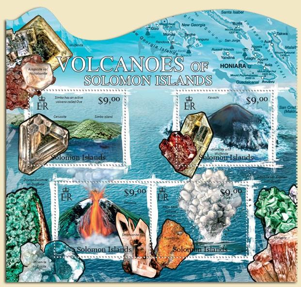 Volcanoes & Minerals - Issue of Solomon islands postage stamps