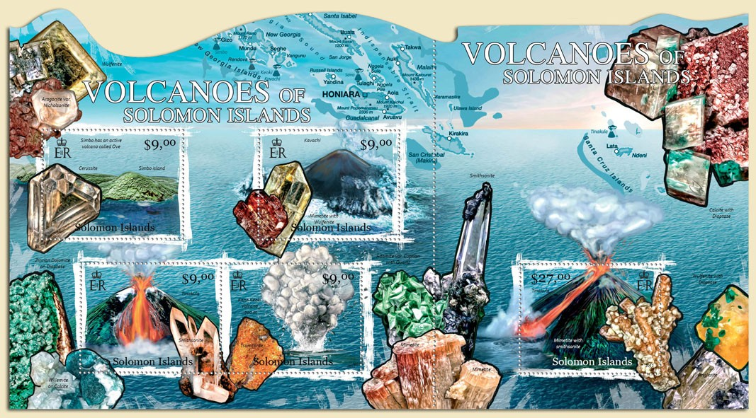 Volcanoes & Minerals - Issue of Solomon islands postage stamps