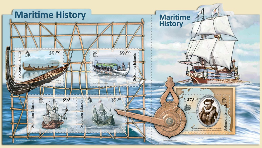Maritime History - Issue of Solomon islands postage stamps