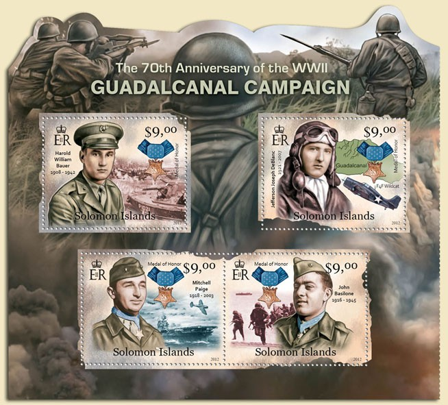 Guadalcanal Campaign - Issue of Solomon islands postage stamps