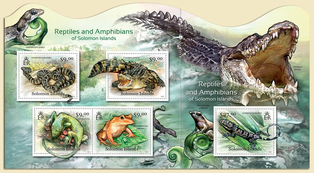 Reptiles and Amphibians - Issue of Solomon islands postage stamps