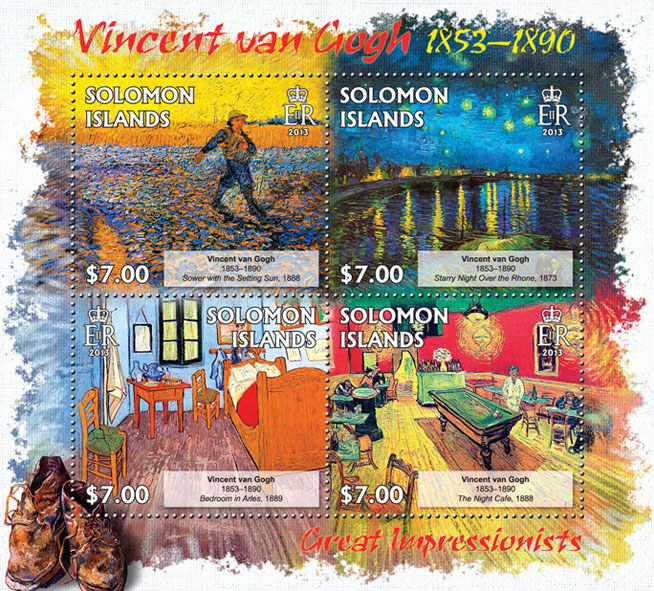 Vincent van Gogh - Issue of Solomon islands postage stamps