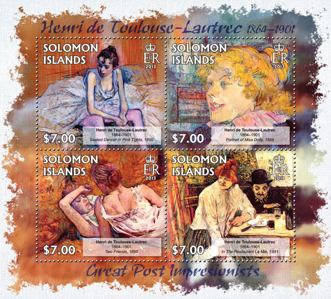 Henri de Toulouse-Lautrec - Issue of Solomon islands postage stamps
