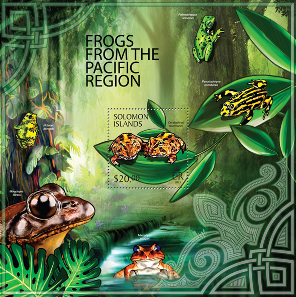 Frogs from the Pacific Region  - Issue of Solomon islands postage stamps