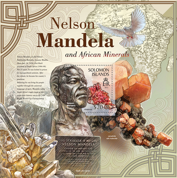 Nelson Mandela & African Minerals - Issue of Solomon islands postage stamps