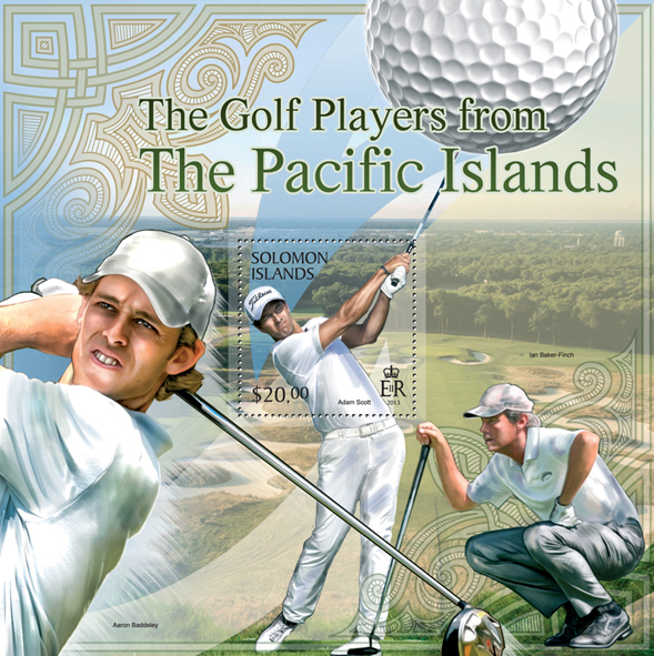 The golf players from the Pacific Islands - Issue of Solomon islands postage stamps