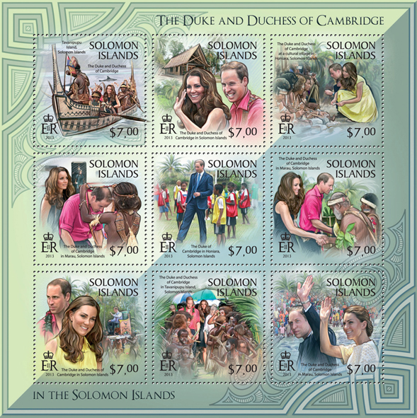 The Duke and Duchess of Cambridge in Solomon Island, II - Issue of Solomon islands postage stamps