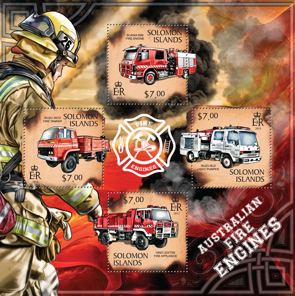 Australian Fire Engines  - Issue of Solomon islands postage stamps