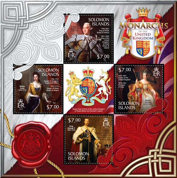 Monarchs of the United Kingdom  - Issue of Solomon islands postage stamps