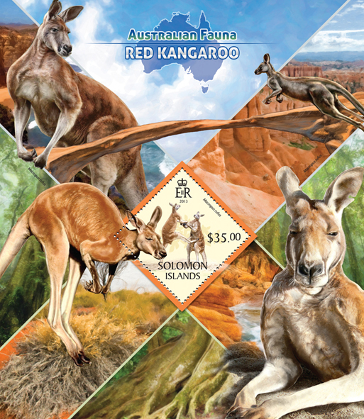 Red kangaroo - Issue of Solomon islands postage stamps
