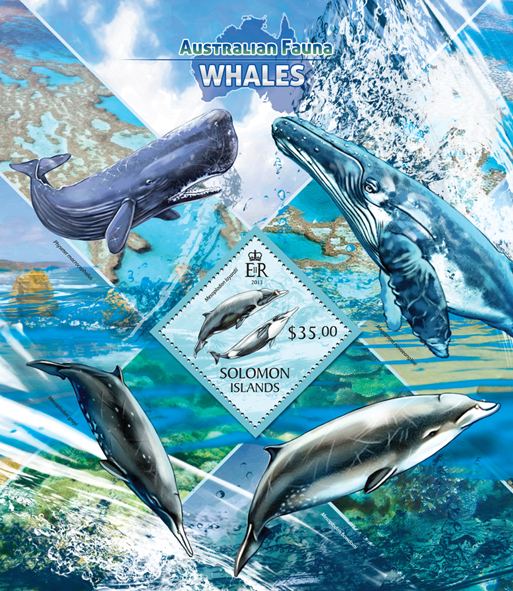 Whales - Issue of Solomon islands postage stamps