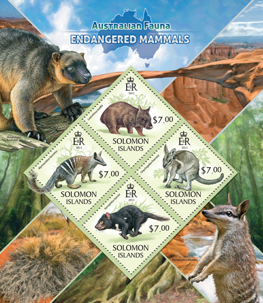Endangered mammals  - Issue of Solomon islands postage stamps