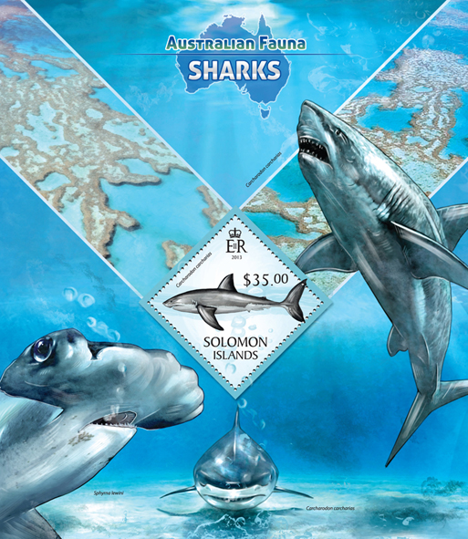 Sharks  - Issue of Solomon islands postage stamps
