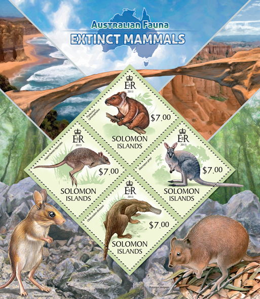 Extinct mammals  - Issue of Solomon islands postage stamps