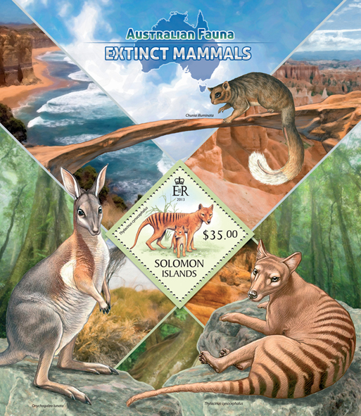 Extinct mammals  - Issue of Solomon islands postage stamps