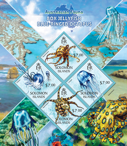 Box jellyfish, Blue-Ringed octopus  - Issue of Solomon islands postage stamps