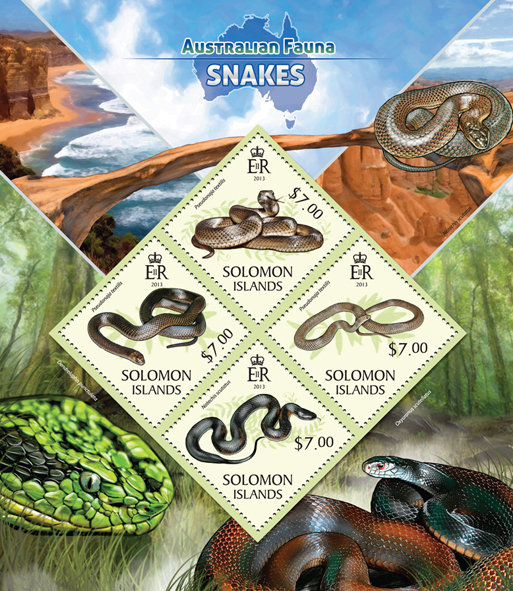 Snakes  - Issue of Solomon islands postage stamps