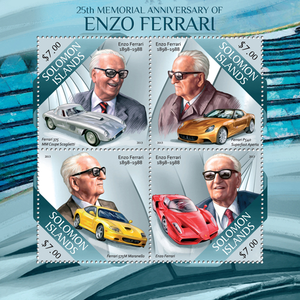 Enzo Ferrari - Issue of Solomon islands postage stamps