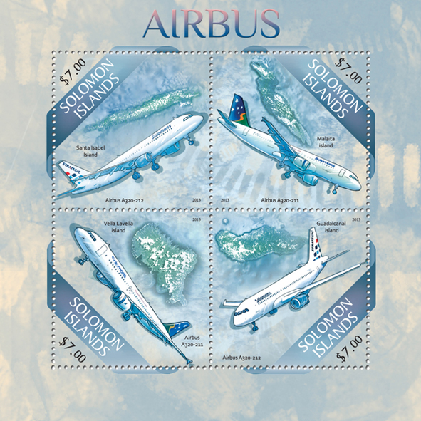 Airbus - Issue of Solomon islands postage stamps