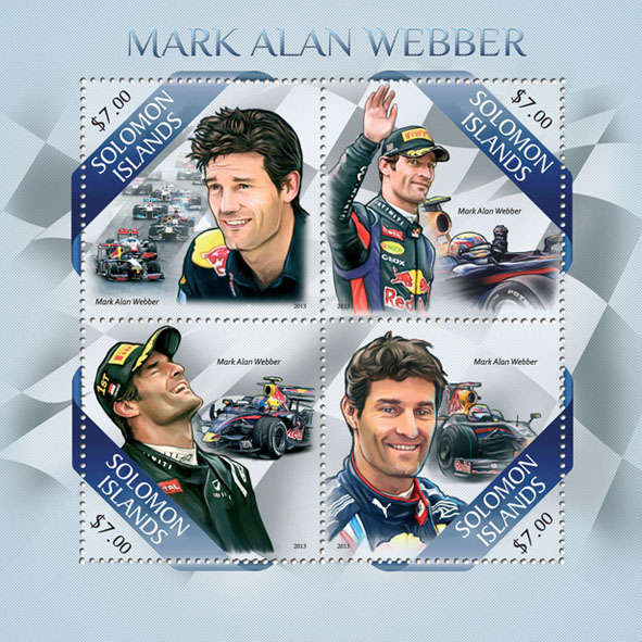 Mark Alan Webber - Issue of Solomon islands postage stamps