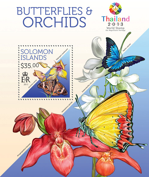 Butterflies and orchids - Issue of Solomon islands postage stamps