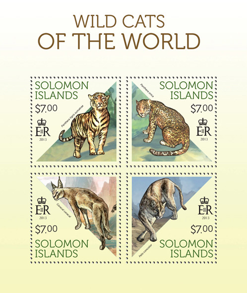 Wild Cats - Issue of Solomon islands postage stamps
