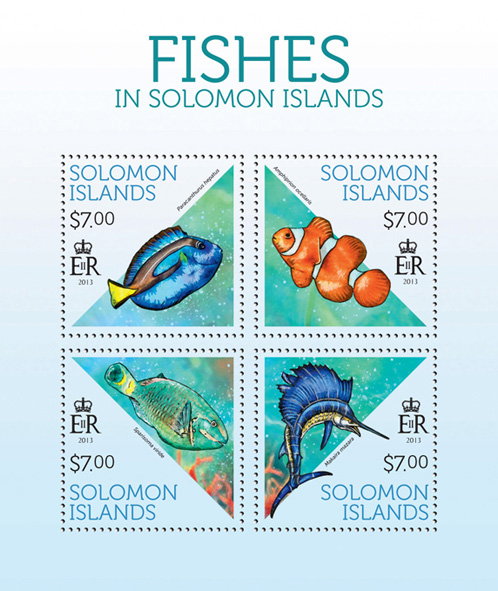 Fish - Issue of Solomon islands postage stamps