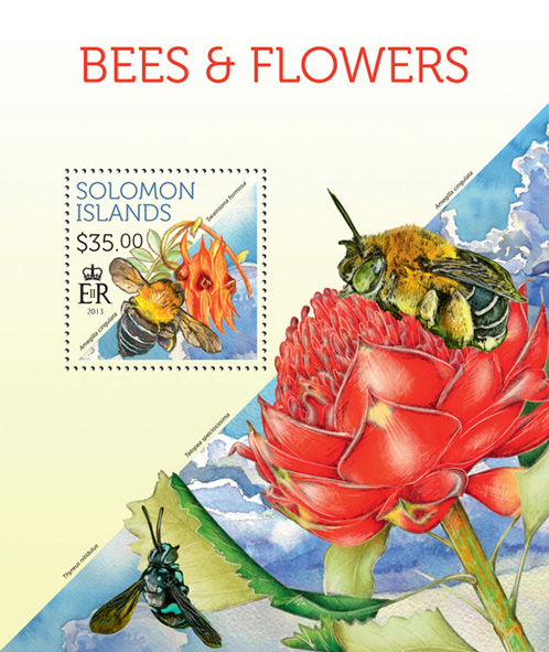 Bees and Flowers - Issue of Solomon islands postage stamps