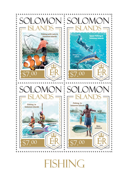 Fishing - Issue of Solomon islands postage stamps