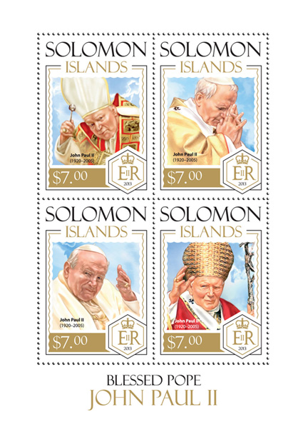 Pope John II - Issue of Solomon islands postage stamps