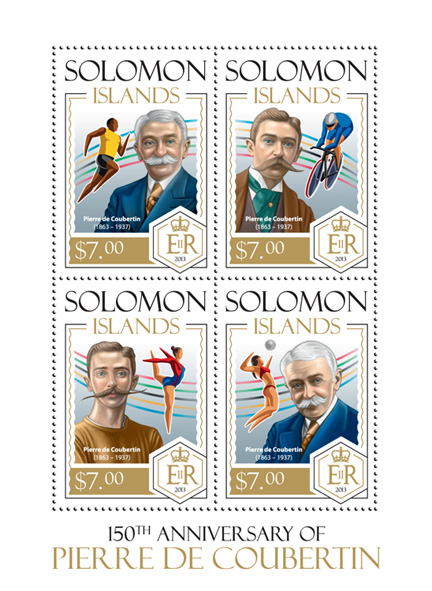 Pierre de Coubertin - Issue of Solomon islands postage stamps