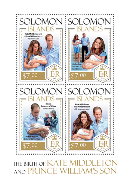 Prince George - Issue of Solomon islands postage stamps
