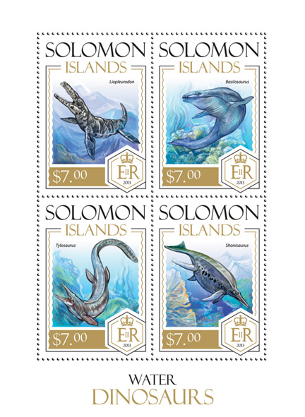Water Dinosaurs - Issue of Solomon islands postage stamps