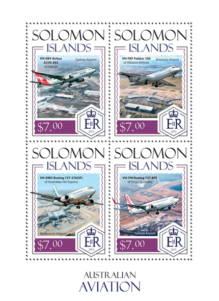 Australian Aviation - Issue of Solomon islands postage stamps