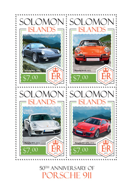 Porsche 911 - Issue of Solomon islands postage stamps