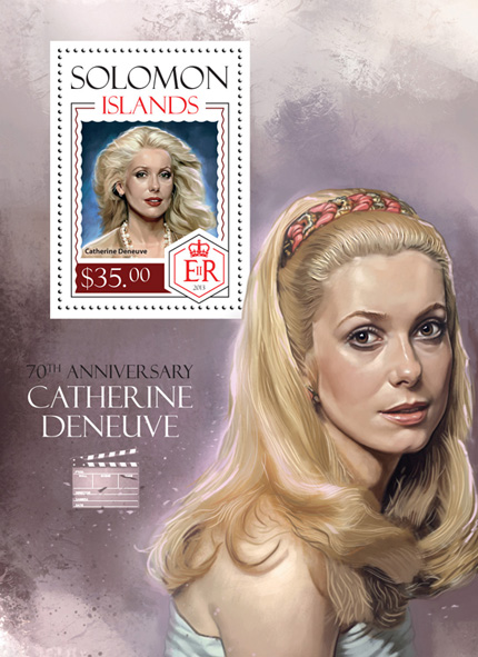 Catherine Deneuve  - Issue of Solomon islands postage stamps