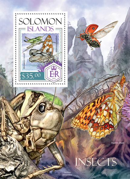 Insects - Issue of Solomon islands postage stamps