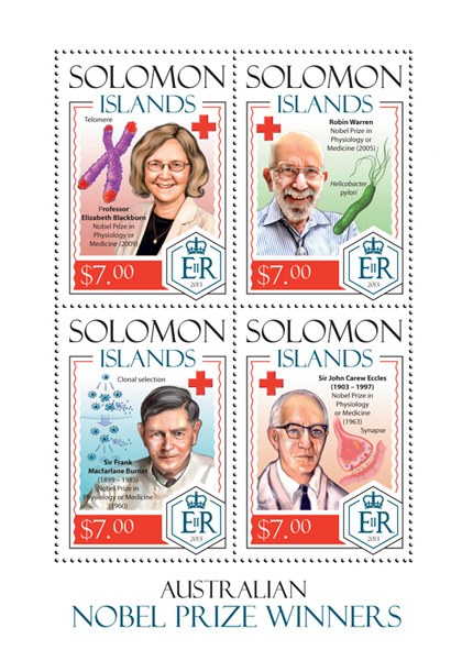 Nobel prize winners - Issue of Solomon islands postage stamps