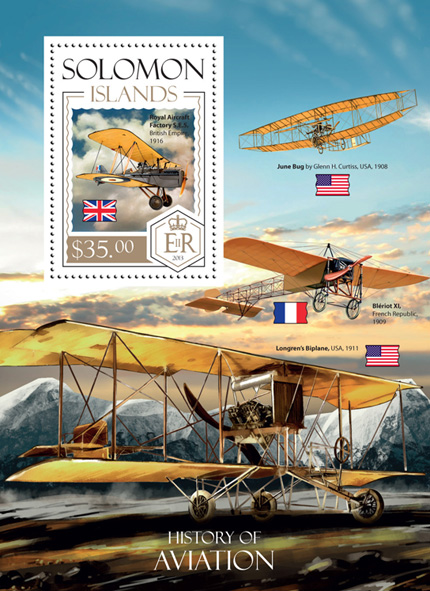 History of Aviation - Issue of Solomon islands postage stamps