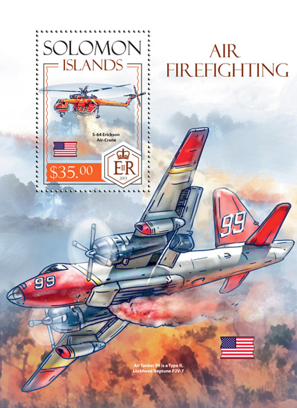 Air firefighting - Issue of Solomon islands postage stamps