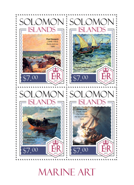 Marine art - Issue of Solomon islands postage stamps