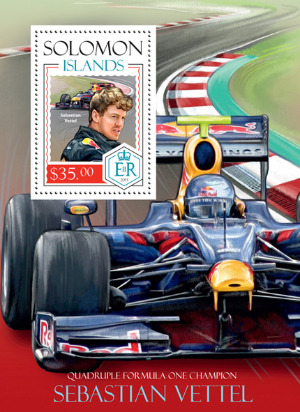 Sebastian Vettel - Issue of Solomon islands postage stamps
