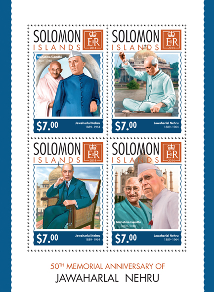 Jawaharlal Nehru - Issue of Solomon islands postage stamps