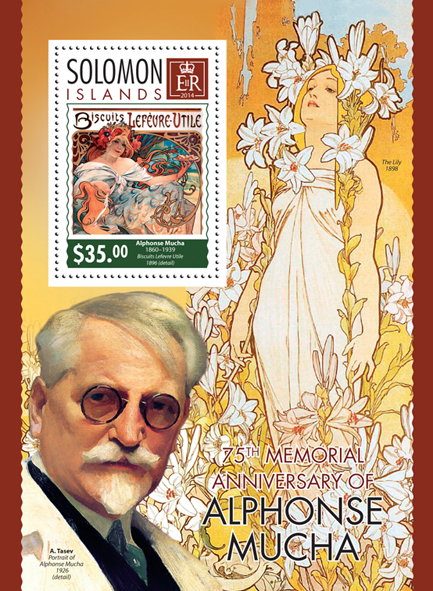 Alphonse Mucha - Issue of Solomon islands postage stamps