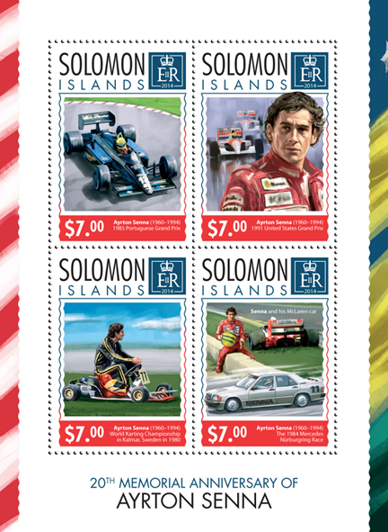 Ayrton Senna - Issue of Solomon islands postage stamps