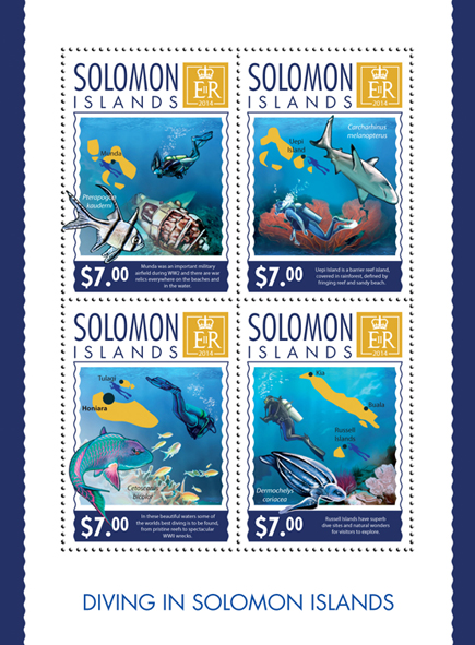 Diving - Issue of Solomon islands postage stamps