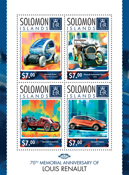 Louis Renault - Issue of Solomon islands postage stamps