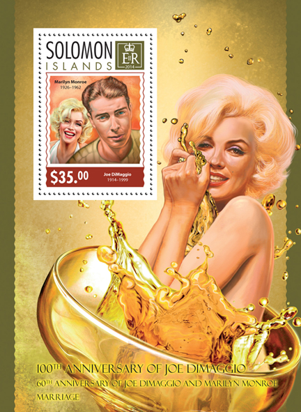 Joe DiMaggio and Marilyn Monroe - Issue of Solomon islands postage stamps