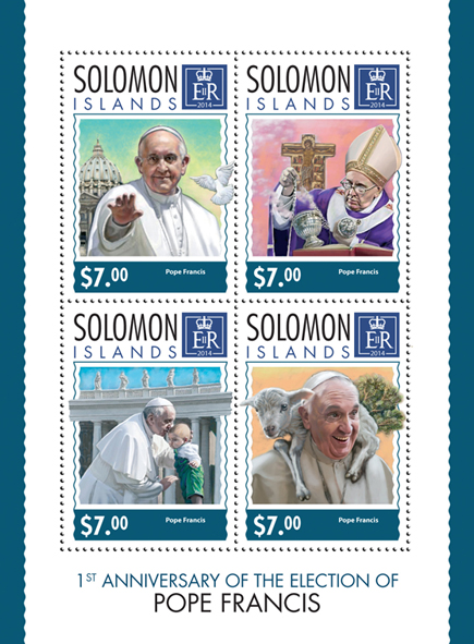 Pope Francis  - Issue of Solomon islands postage stamps