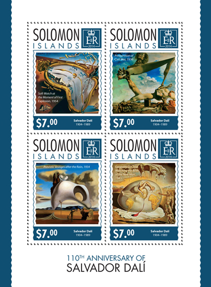 Salvador Dalí  - Issue of Solomon islands postage stamps